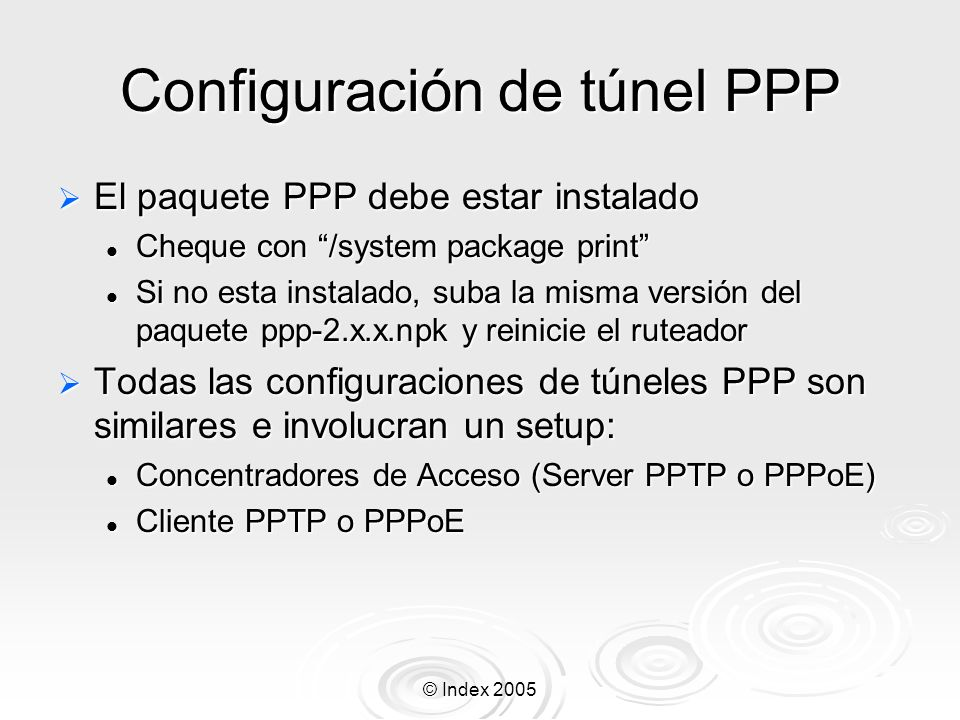 Configuración de túnel PPP