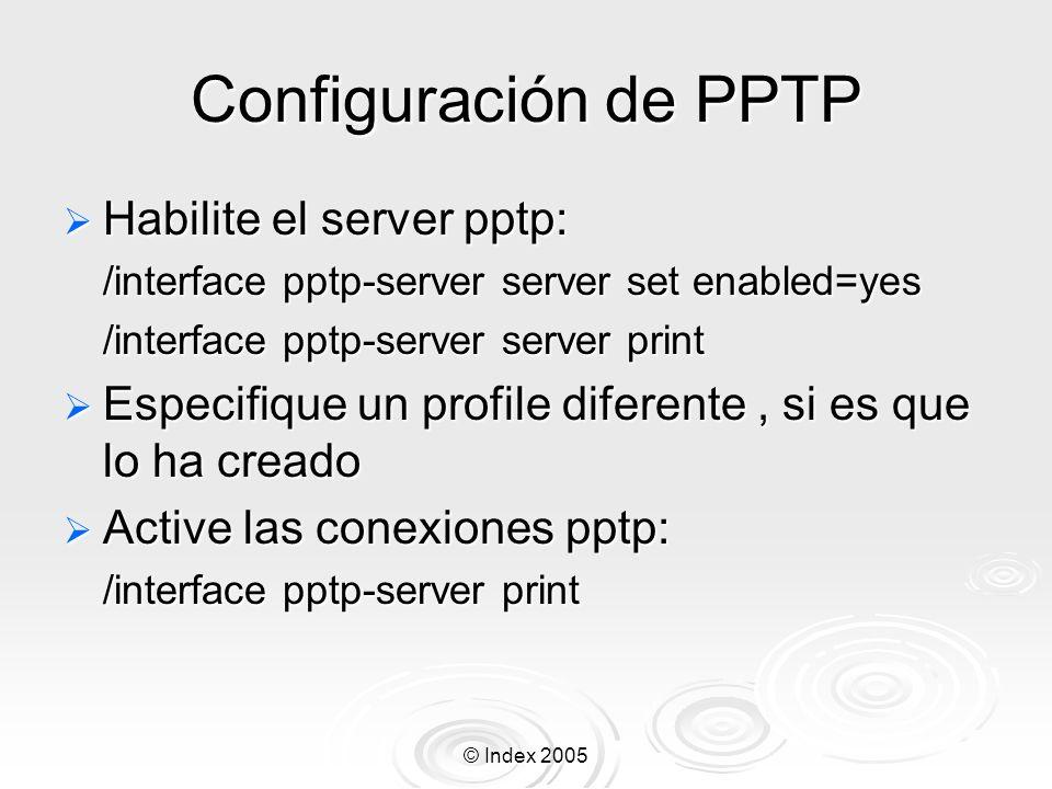 Configuración de PPTP Habilite el server pptp: