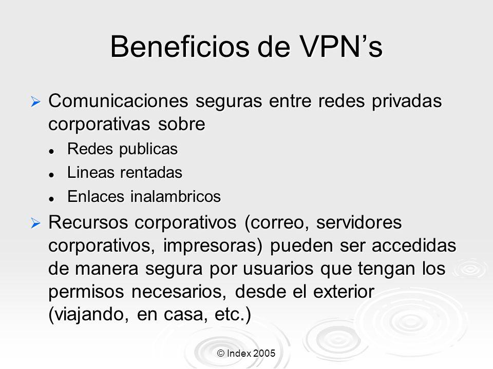 Beneficios de VPN'sComunicaciones seguras entre redes privadas corporativas sobre. Redes publicas. Lineas rentadas.