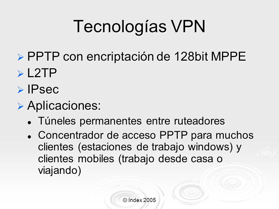 Tecnologías VPN PPTP con encriptación de 128bit MPPE L2TP IPsec