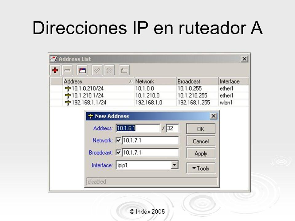 Direcciones IP en ruteador A