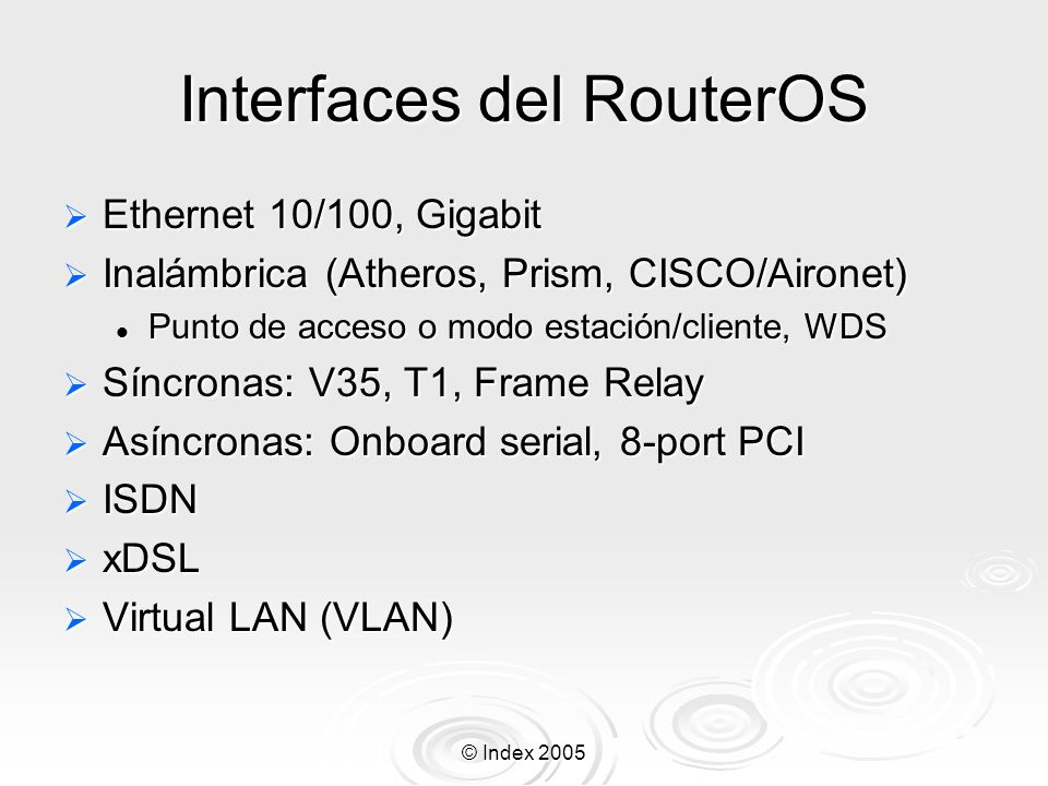 Interfaces del RouterOS