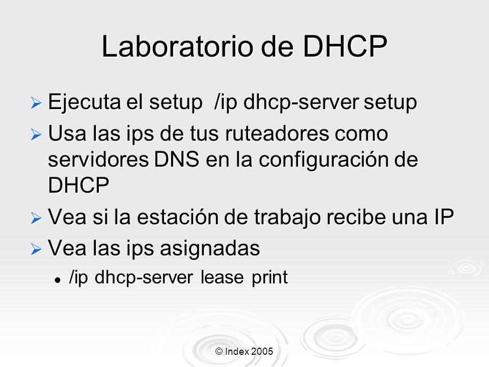 Laboratorio de DHCP Ejecuta el setup /ip dhcp-server setup