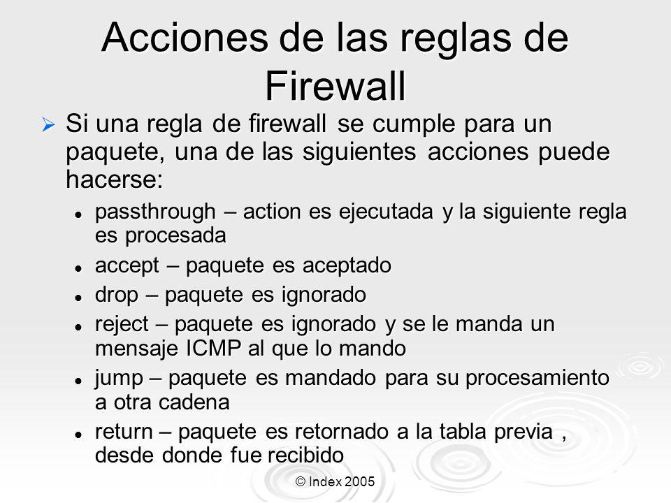 Acciones de las reglas de Firewall