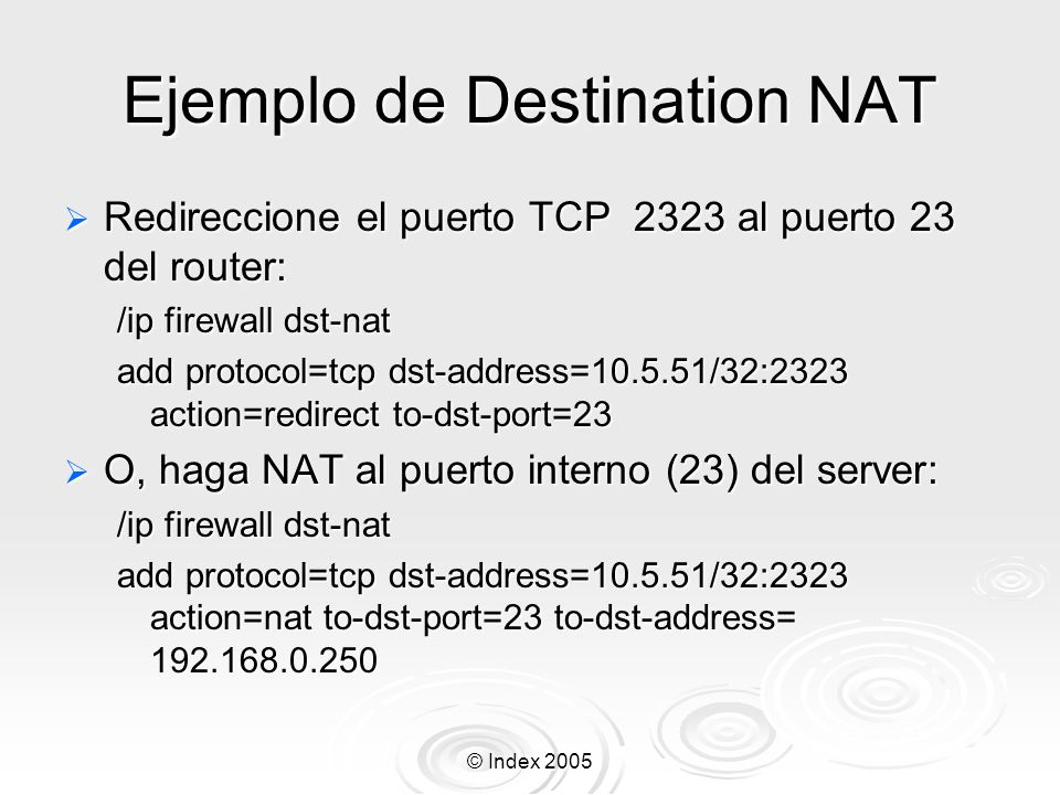 Ejemplo de Destination NAT