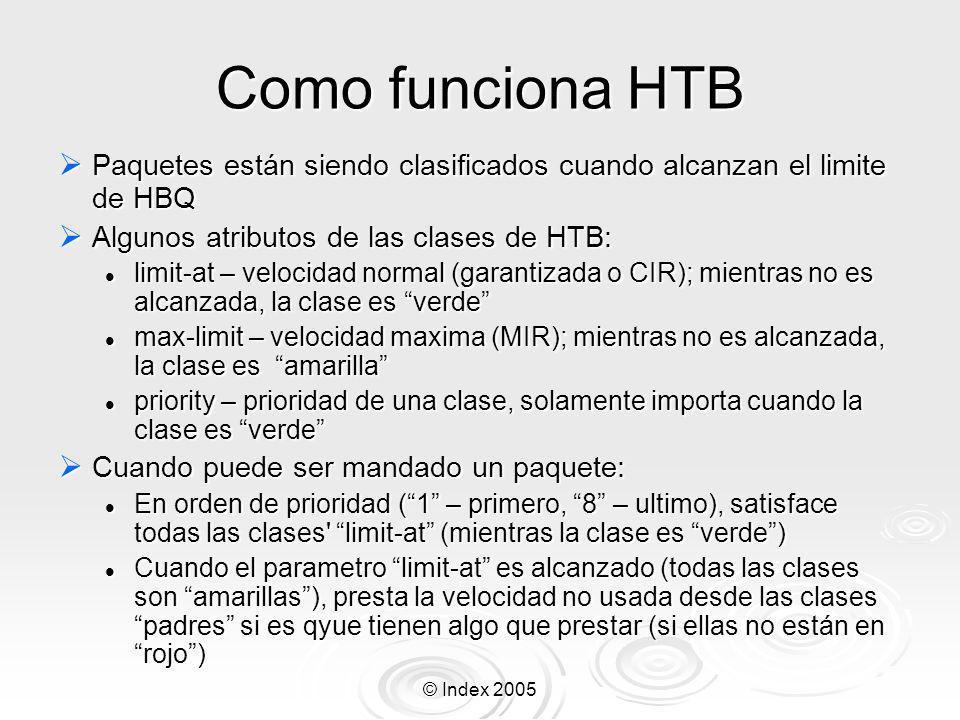 Como funciona HTB Paquetes están siendo clasificados cuando alcanzan el limite de HBQ. Algunos atributos de las clases de HTB: