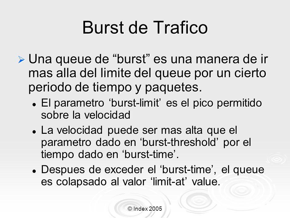 Burst de TraficoUna queue de burst es una manera de ir mas alla del limite del queue por un cierto periodo de tiempo y paquetes.