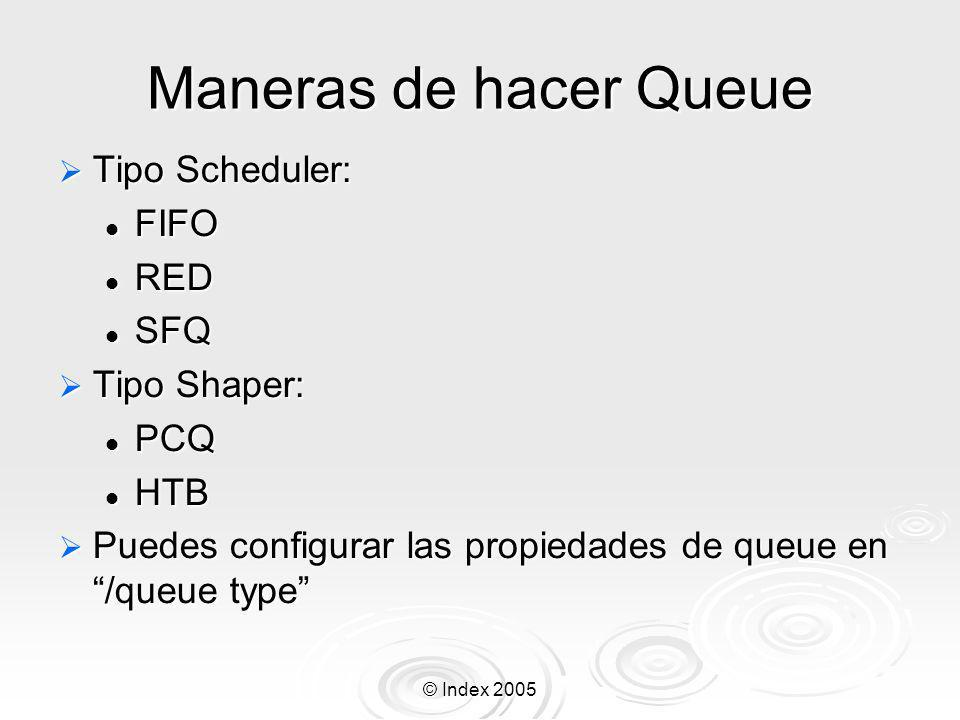 Maneras de hacer Queue Tipo Scheduler: FIFO RED SFQ Tipo Shaper: PCQ
