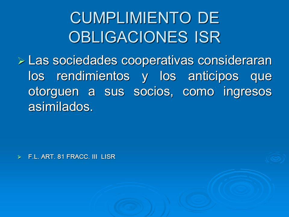 CUMPLIMIENTO DE OBLIGACIONES ISR