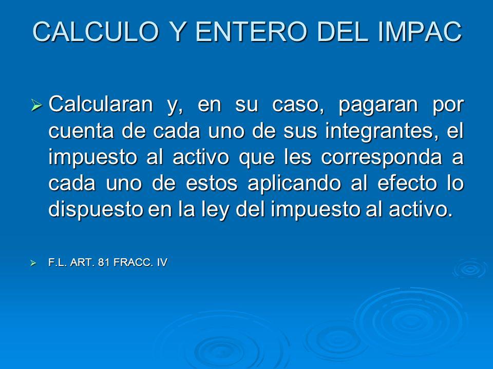 CALCULO Y ENTERO DEL IMPAC