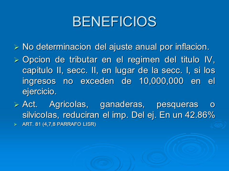 BENEFICIOS No determinacion del ajuste anual por inflacion.