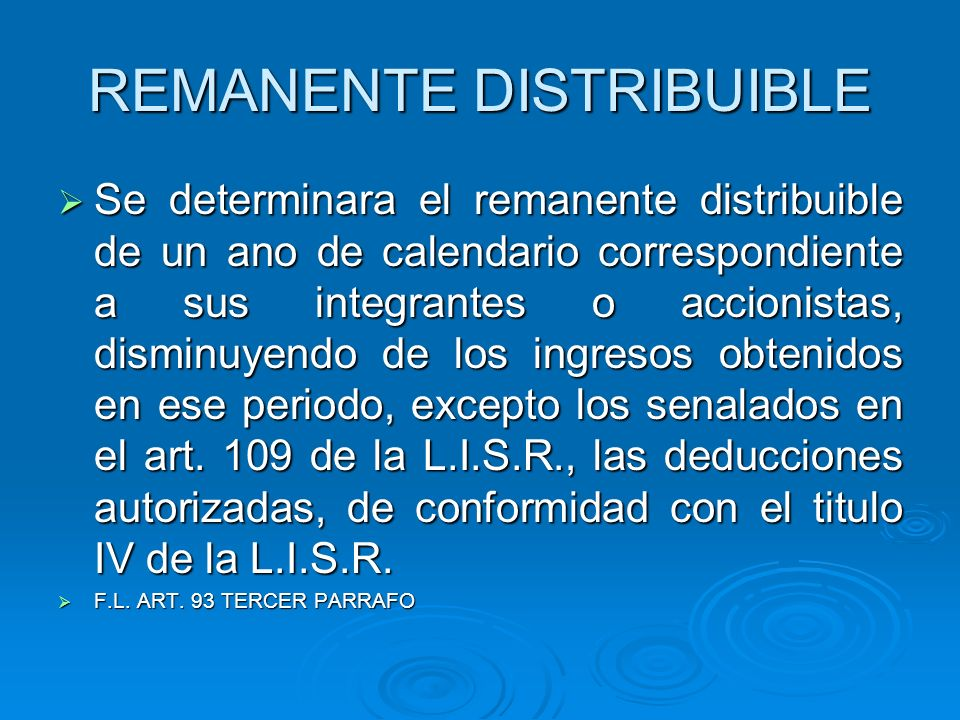 REMANENTE DISTRIBUIBLE
