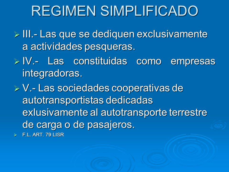 REGIMEN SIMPLIFICADO III.- Las que se dediquen exclusivamente a actividades pesqueras. IV.- Las constituidas como empresas integradoras.