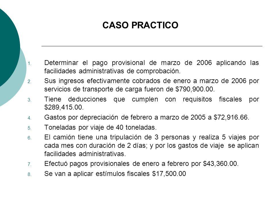 CASO PRACTICO Determinar el pago provisional de marzo de 2006 aplicando las facilidades administrativas de comprobación.