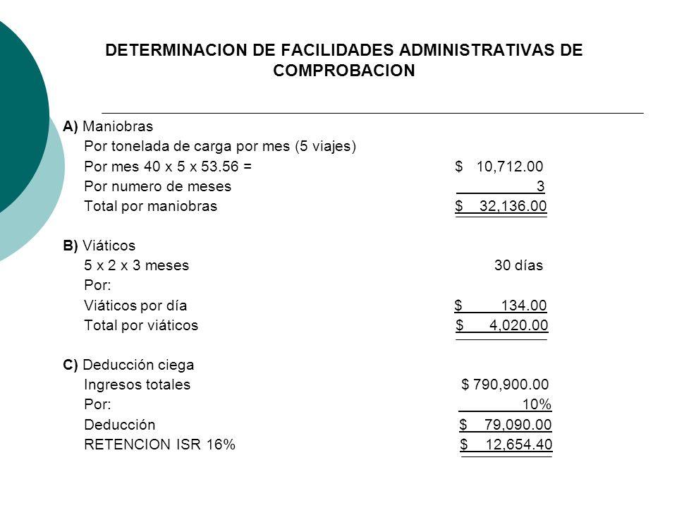 DETERMINACION DE FACILIDADES ADMINISTRATIVAS DE COMPROBACION
