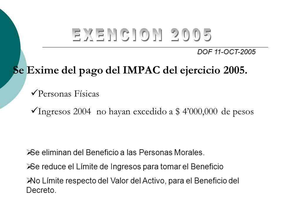EXENCION 2005 Se Exime del pago del IMPAC del ejercicio 2005.