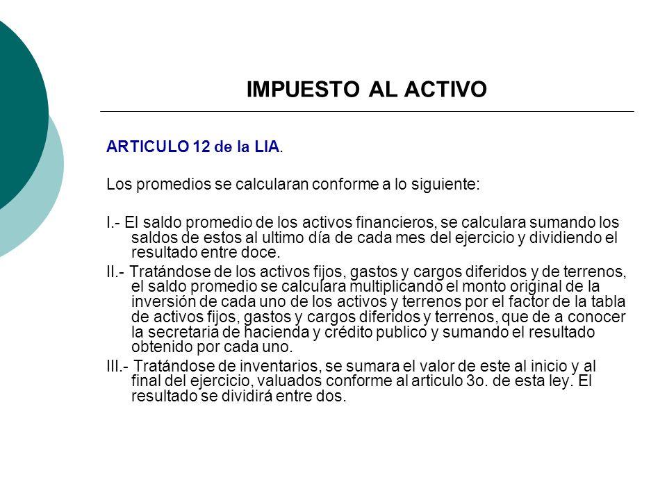 IMPUESTO AL ACTIVO ARTICULO 12 de la LIA.