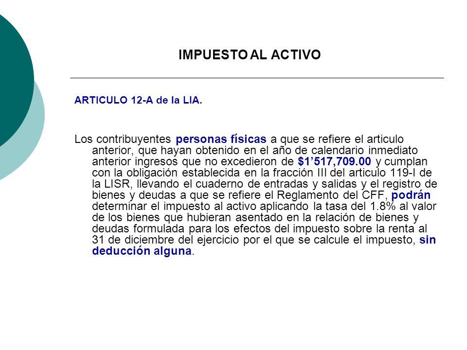 IMPUESTO AL ACTIVO ARTICULO 12-A de la LIA.