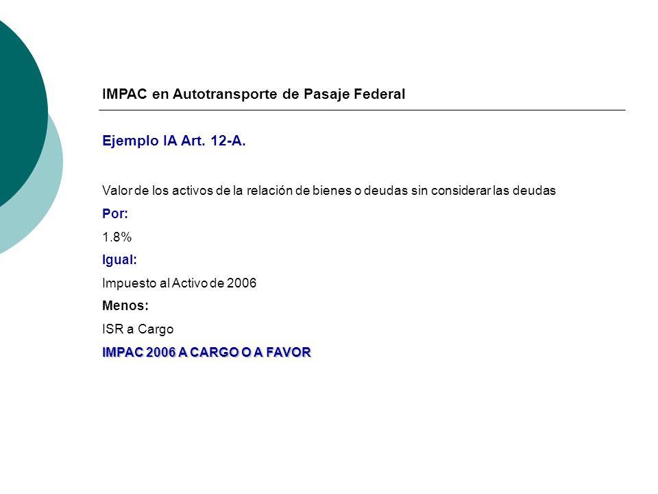 IMPAC en Autotransporte de Pasaje Federal