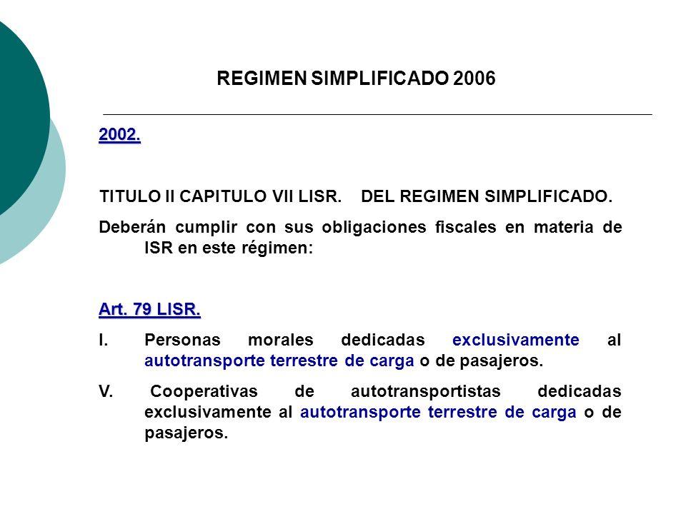 REGIMEN SIMPLIFICADO 2006 2002. TITULO II CAPITULO VII LISR. DEL REGIMEN SIMPLIFICADO.