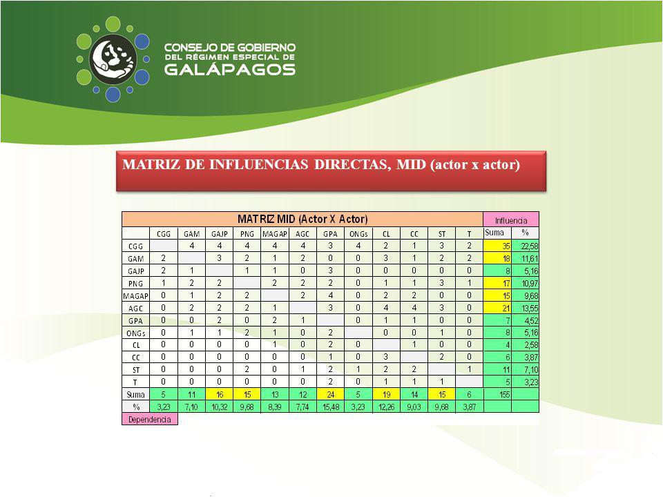 MATRIZ DE INFLUENCIAS DIRECTAS, MID (actor x actor)