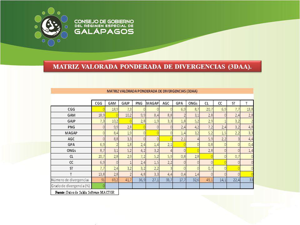 MATRIZ VALORADA PONDERADA DE DIVERGENCIAS (3DAA).