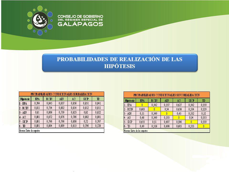 PROBABILIDADES DE REALIZACIÓN DE LAS HIPÓTESIS