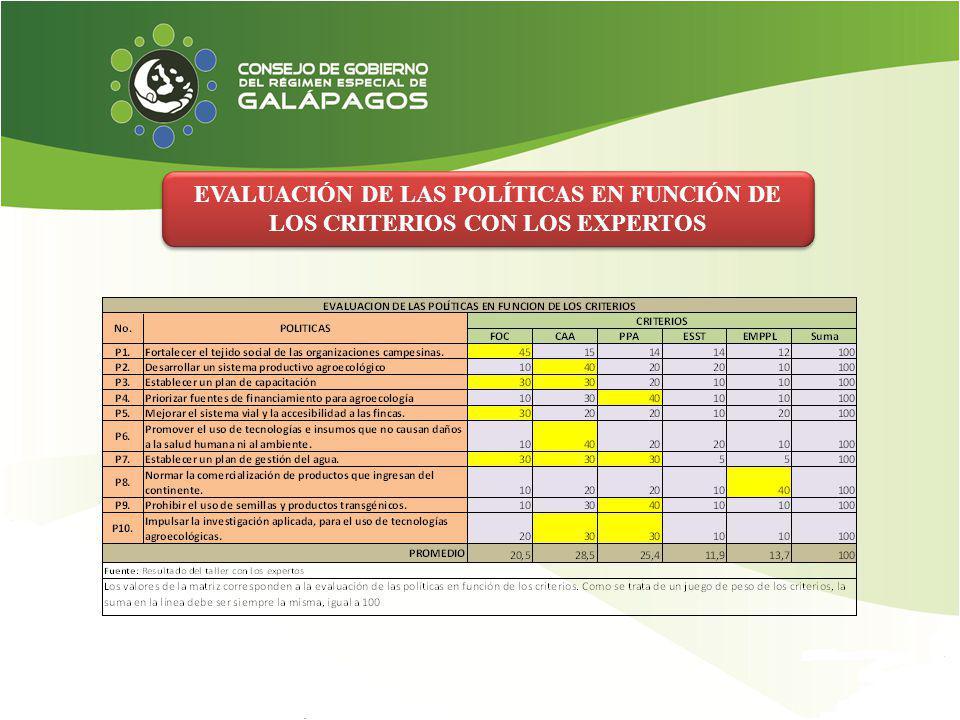 EVALUACIÓN DE LAS POLÍTICAS EN FUNCIÓN DE LOS CRITERIOS CON LOS EXPERTOS