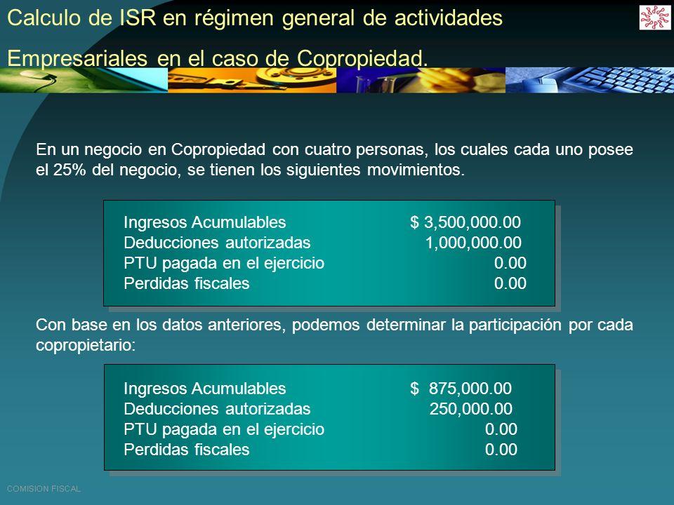 Calculo de ISR en régimen general de actividades