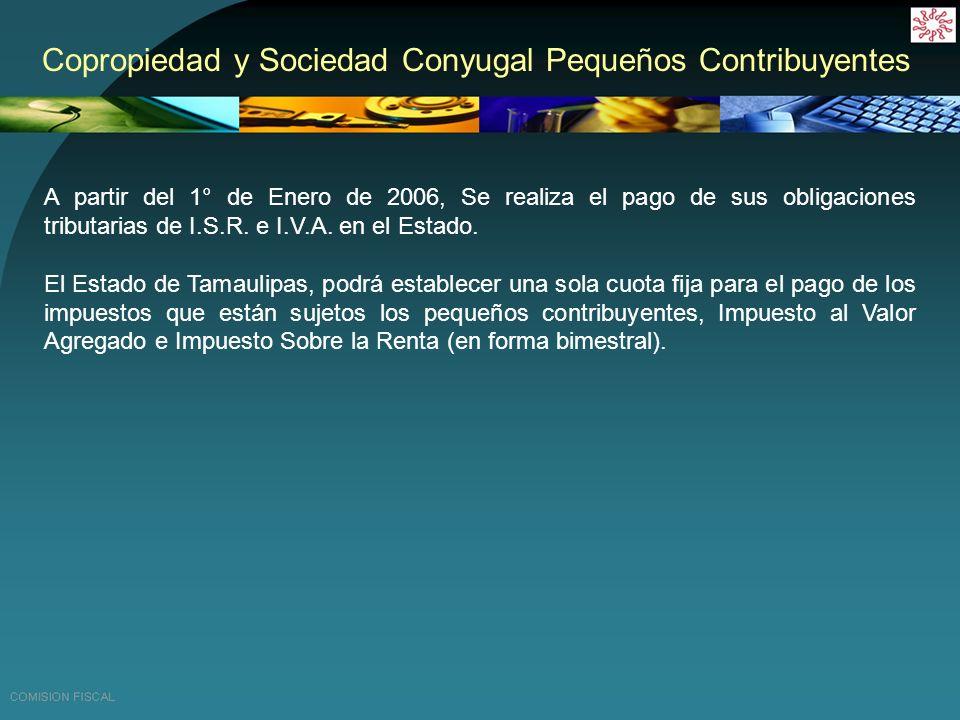 Copropiedad y Sociedad Conyugal Pequeños Contribuyentes