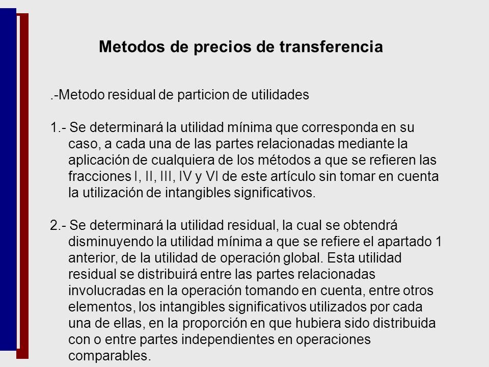 .-Metodo residual de particion de utilidades