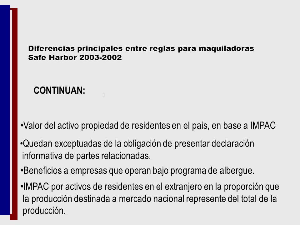 Valor del activo propiedad de residentes en el pais, en base a IMPAC