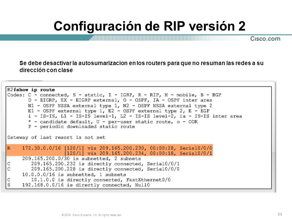 Configuración de RIP versión 2
