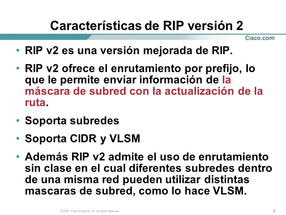 Características de RIP versión 2