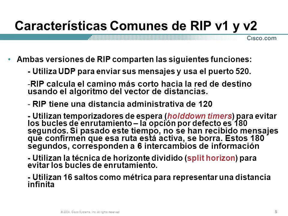 Características Comunes de RIP v1 y v2