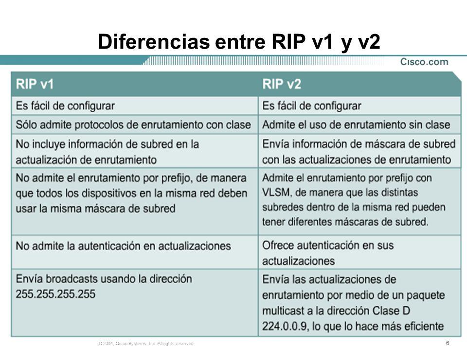 Diferencias entre RIP v1 y v2