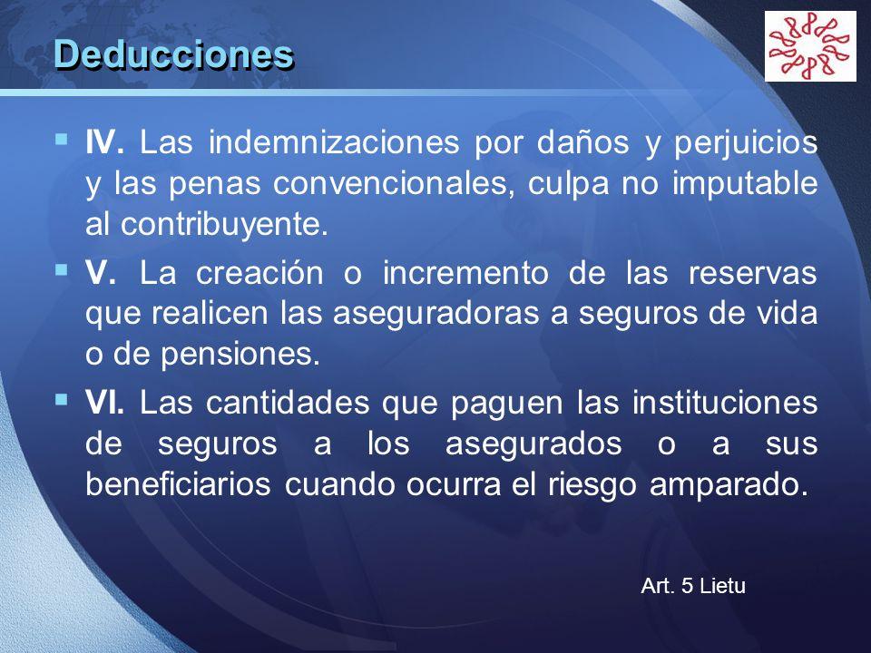 DeduccionesIV. Las indemnizaciones por daños y perjuicios y las penas convencionales, culpa no imputable al contribuyente.