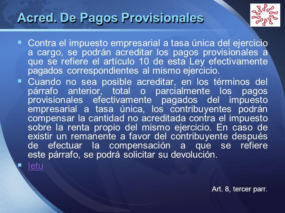 Acred. De Pagos Provisionales
