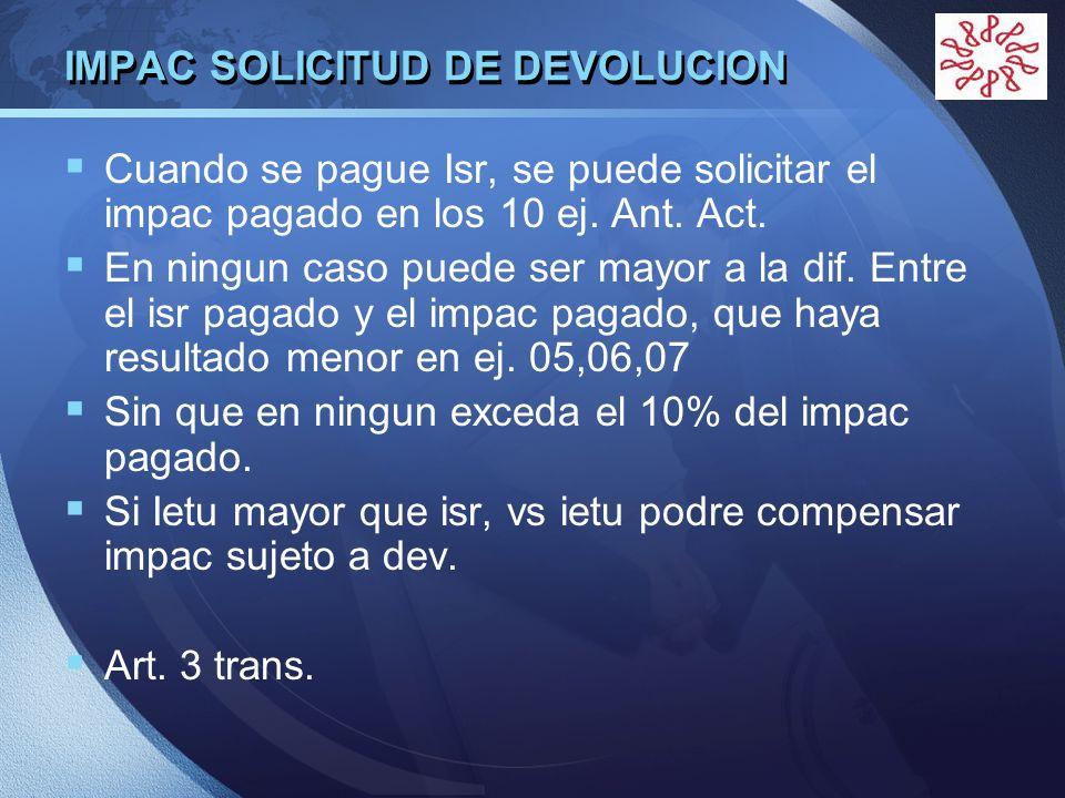 IMPAC SOLICITUD DE DEVOLUCION