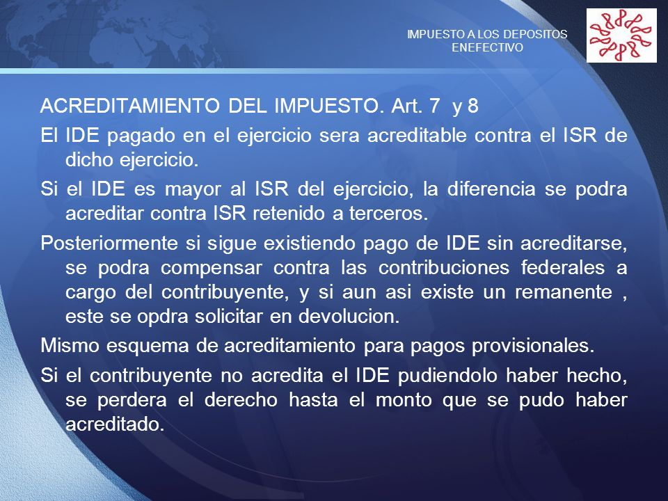 IMPUESTO A LOS DEPOSITOS ENEFECTIVO
