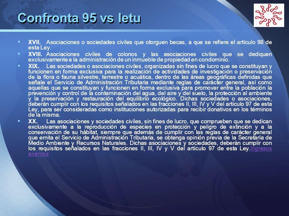 Confronta 95 vs Ietu XVII. Asociaciones o sociedades civiles que otorguen becas, a que se refiere el artículo 98 de esta Ley.