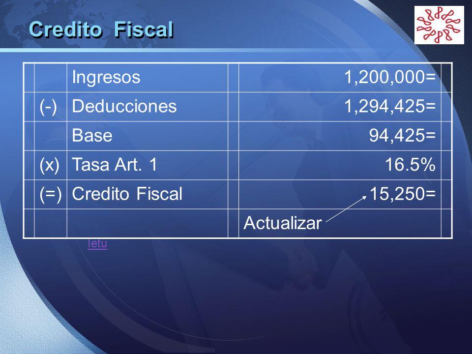 Credito Fiscal Ingresos 1,200,000= (-) Deducciones 1,294,425= Base