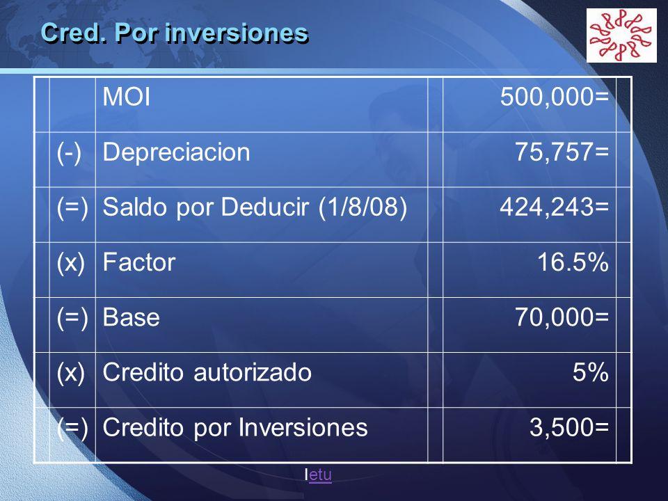 Credito por Inversiones 3,500=