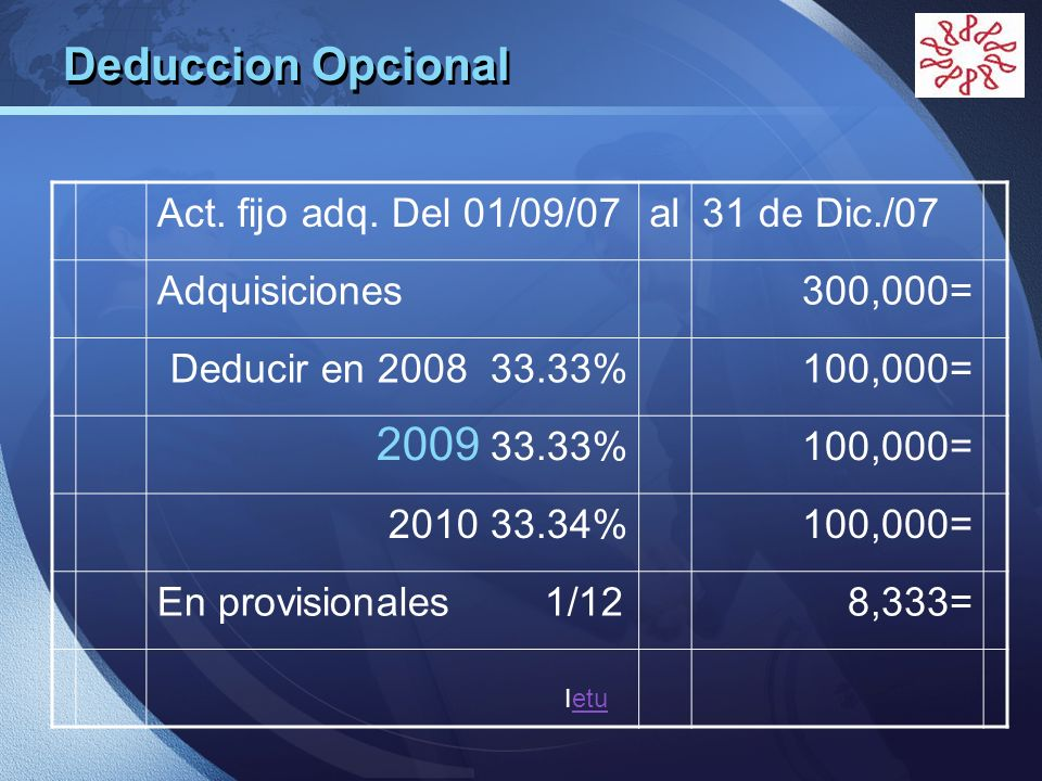 Deduccion Opcional Act. fijo adq. Del 01/09/07 al 31 de Dic./07