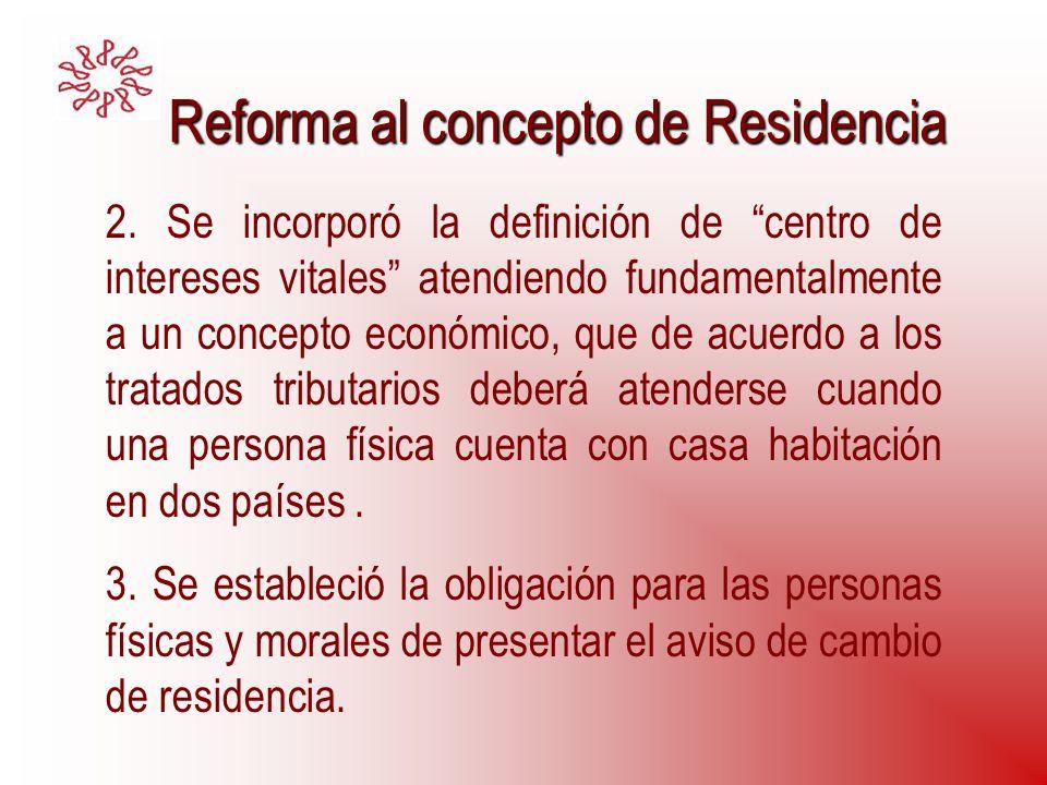 Reforma al concepto de Residencia