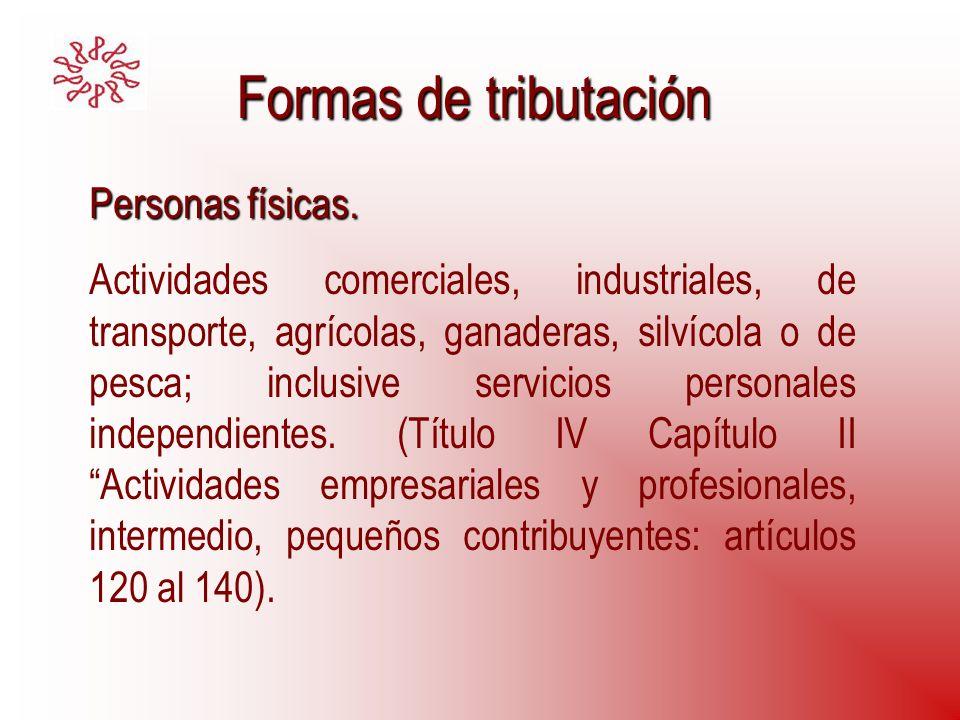 Formas de tributación Personas físicas.
