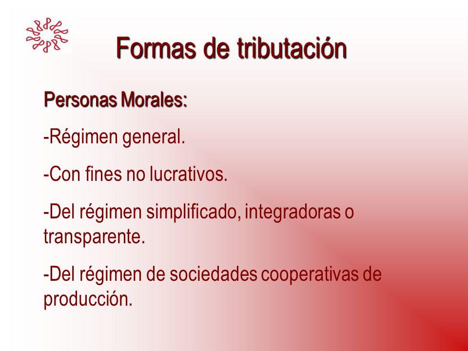Formas de tributación Personas Morales: Régimen general.