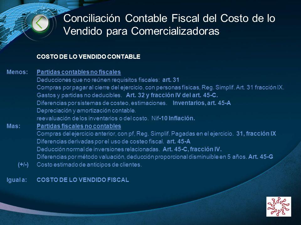 Conciliación Contable Fiscal del Costo de lo Vendido para Comercializadoras