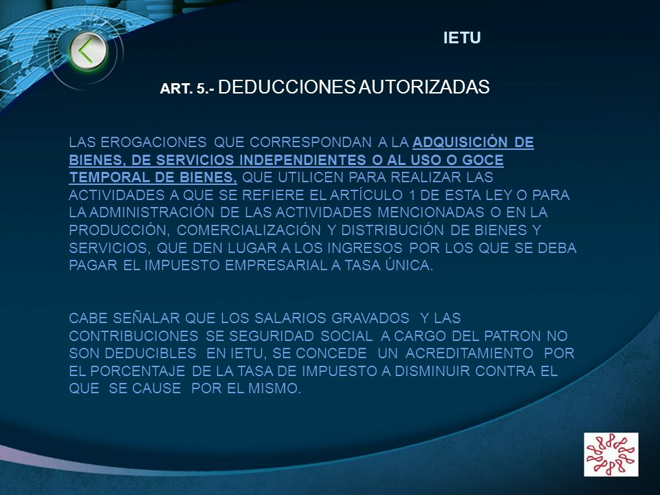 ART. 5.- DEDUCCIONES AUTORIZADAS