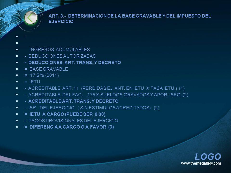 - DEDUCCIONES AUTORIZADAS - DEDUCCIONES ART. TRANS. Y DECRETO